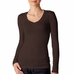 Bella Women's T-Shirt: 4 oz. Long-Sleeve Sheer Rib Longer Length V-Neck (B8750)