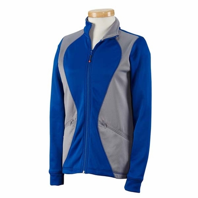 Russell Athletic Women's Jacket: 100% Polyester Tech Fleece Full-Zip Cadet with Colorblock Inserts (FS7EFX)