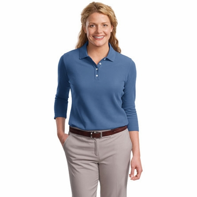 Port Authority Women's Polo Shirt: EZCotton Pique 3/4-Sleeve (L801)