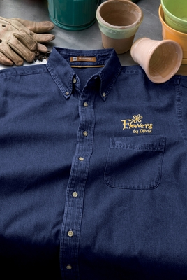 Harriton Men's Denim Shirt: 100% Cotton Short-Sleeve (M550S)