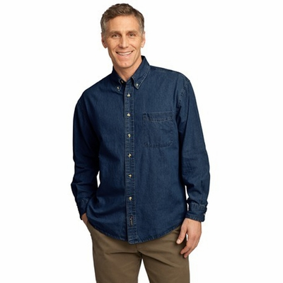 Port & Company Men's Denim Shirt: 100% Cotton Long Sleeve Value (SP10)