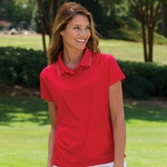 Willow Pointe Women's Polo Shirt: Performance Ribbed Textured w/ Jacquard Mesh Sleeves (2701)