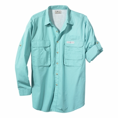 Hook & Tackle Men's Fishing Shirt: 100% Cotton Poplin Gulf Stream Long-Sleeve (1013L)