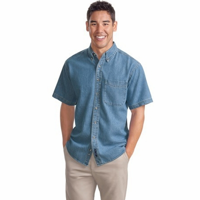 Port Authority Men's Denim Shirt: 100% Cotton Short Sleeve (S500)