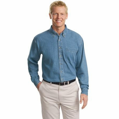 Port Authority Men's Denim Shirt: 100% Cotton Tall Long Sleeve (TLS600)