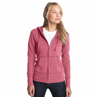 District Threads Women's Sweatshirt: 100% Cotton Junior Vintage French Terry Full-Zip Hoodie (DT233)