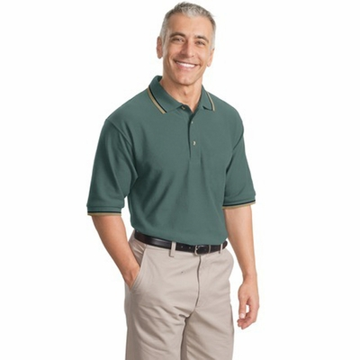 Port Authority Men's Polo Shirt: 100% Cotton Signature Cool Mesh Tipping Stripe Trim (K431)