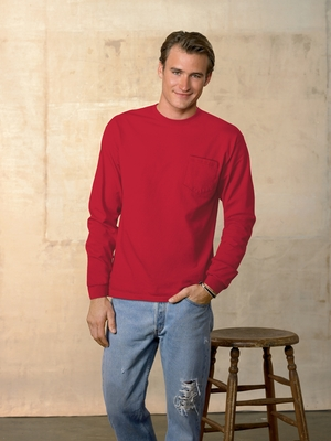 Hanes Men's T-Shirt: 100% Cotton Tagless Long-Sleeve Pocket (5596)