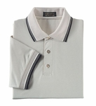 Ash City Men's Polo Shirt: 100% Cotton Tri-Color Birdseye Trim Pique (225449)