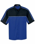 Ash City Men's Polo Shirt: Cotton Blend Color Block Button Collar (87013)