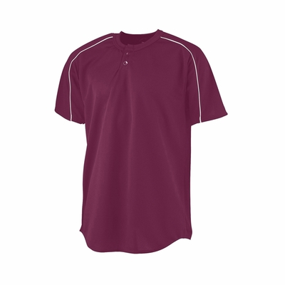 Augusta Sportswear Youth Baseball Jersey: 100% Polyester Mesh Contrast Piping 2-Button with Wicking (586)