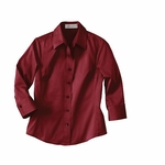 Il Migliore Women's Dress Shirt: 3/4-Sleeve Solid Cotton Stretch (77020)