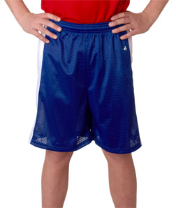 Badger Sport Youth Shorts: 100% Polyester Mesh/Dazzle Color Block Challenger (2241)