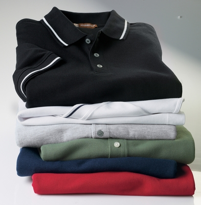 Harriton Men's Polo Shirt: 5.6 oz. Tipped Easy Blend (M270)