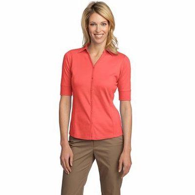 Port Authority Women's Polo Shirt: Silk Touch Button Front Interlock(L523)