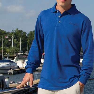 Inner Harbor Men's Polo Shirt: Meridian Long Sleeve Mesh/Pique (7015)