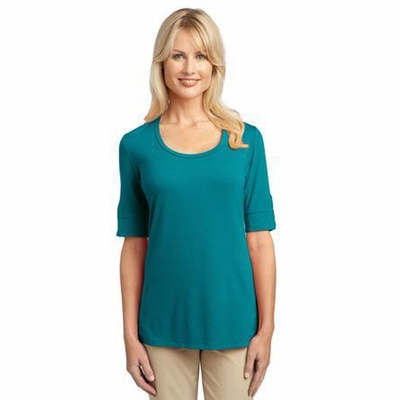 Port Authority Women's T-Shirt: Concept Scoop Neck with Button Trimmed Sleeves (L541)