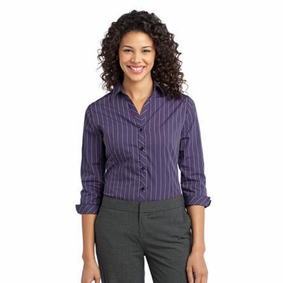 Port Authority Women's Poplin Shirt: 3/4 Sleeve Vertical Stripe Easy Care (L643)