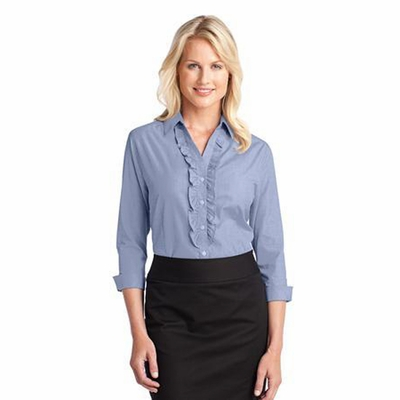 Port Authority Women's Woven Shirt: 3/4 Sleeve Crosshatch Ruffle Easy Care (L644)
