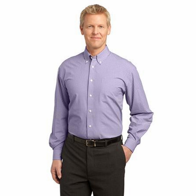 Port Authority Men's Poplin Shirt: Plaid Pattern Easy Care Button Down (S639)