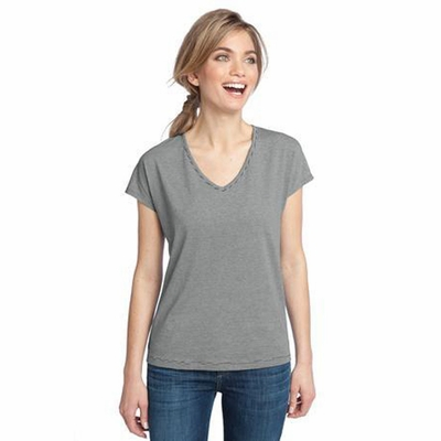 District Made Women's T-Shirt: Mini Stripe Dolman V-Neck(DM422)