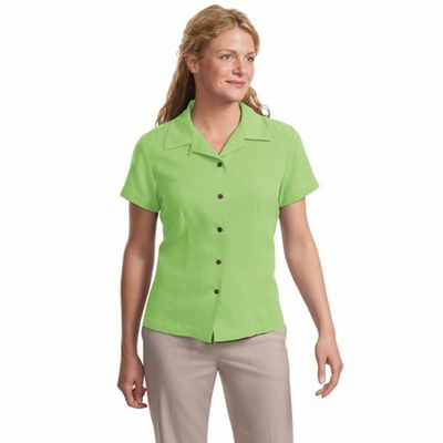Port Authority Women's Camp Shirt: Signature Silk Blend Waffle Weave Sandwashed (L533)