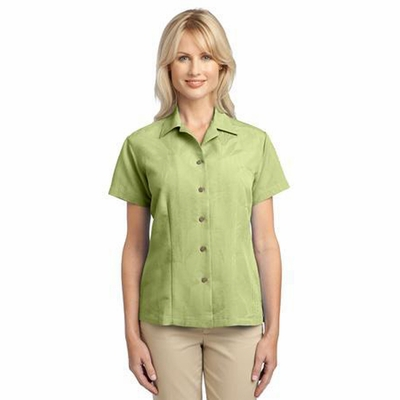 Port Authority Women's Camp Shirt: Poly Blend Leaf Patterned Easy Care (L536)