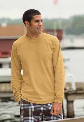 Authentic Pigment Men's T-Shirt: 5.6 oz. Pigment-Dyed & Direct-Dyed Ringspun Long-Sleeve (1971)