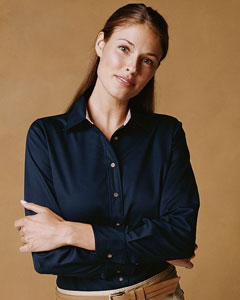 Harriton Women's Twill Shirt: Long-Sleeve with Stain Release (M500W)