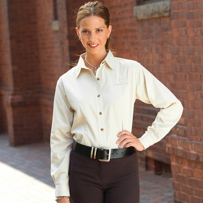 Jonathan Corey Women's Twill Shirt: Long Sleeve Teflon (628)