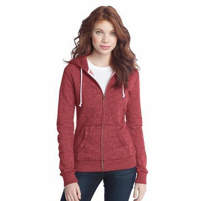 District Threads Juniors Sweatshirt: Two-Toned Marled Fleece Full-Zip Hoodie(DT292)