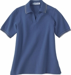 Extreme Women's Polo Shirt: 100% Cotton Pique With Textured Stripe Trim (75010)