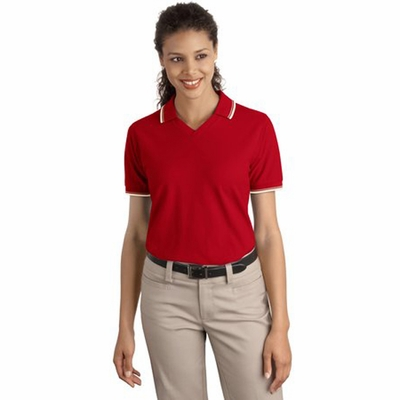 Port Authority Women's Polo Shirt: 100% Cotton Signature Cool Mesh Tipping Stripe Trim (L431)