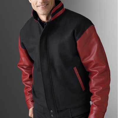 North End Men's Jacket: Letterman Jacket w/ Stand Collar (88070)