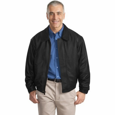 Port Authority Men's Jacket: Leather Bomber Pocketed (J780)