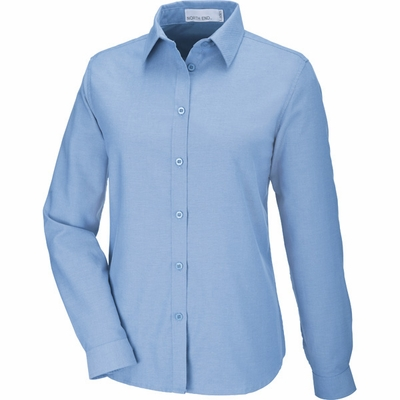 North End Women's Oxford Shirt: Long Sleeve Wrinkle Resistant Easy Care (77038)