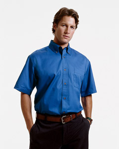 Harriton Men's Twill Shirt: Short-Sleeve with Stain Release (M500S)