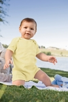 Apples & Oranges Infant Romper: 100% Cotton Andy 1X1 Rib Shortall (KA120)