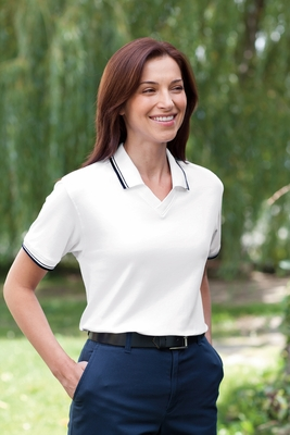 Devon & Jones Women's Polo Shirt: 100% Pima Cotton Tipped Perfect Interlock (D140W)
