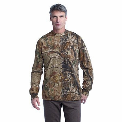 Russell Outdoors Men's T-Shirt: 100% Cotton Jersey Realtree Explorer Long Sleeve with Pocket (S020R)