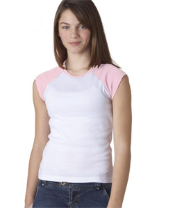 Bella Girl's T-Shirt: 100% Cotton Cap-Sleeve Raglan (B9020)