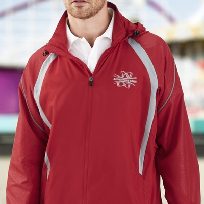 North End Men's Jacket: Lightweight Unlined Water Resistant w/ Reflective Piping (88168)