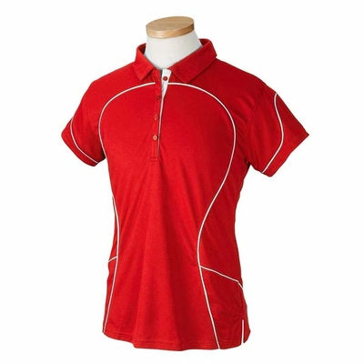 Russell Athletic Women's Polo Shirt: 100% Polyester Team Prestige with Contrast Piping (434CFX)