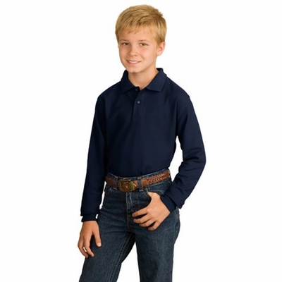 Port Authority Youth Polo Shirt: Silk Touch Long Sleeve (Y500LS)