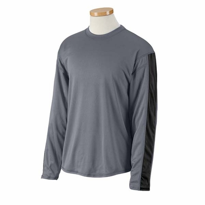 Russell Athletic Men's T-Shirt: 100% Polyester Performance Colorblocked Long Sleeve (6B5DPM)
