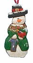 Wood Fok Art  Ornament - Snowman with Birdhouse