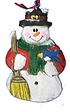 Wood Fok Art  Ornament: Snowman  with  Broom - Sold