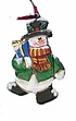 Wood Folk Art Snowman Ornament #12196