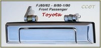 Door Handle - 1ea -  Chrome - F/Passngr/Right Side - 8/80-1/90 - TOYOTA