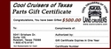 CCOT Gift Certificate - $500